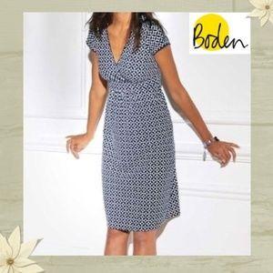 Boden Navy Blue Mosaic Geometric Pattern Dress